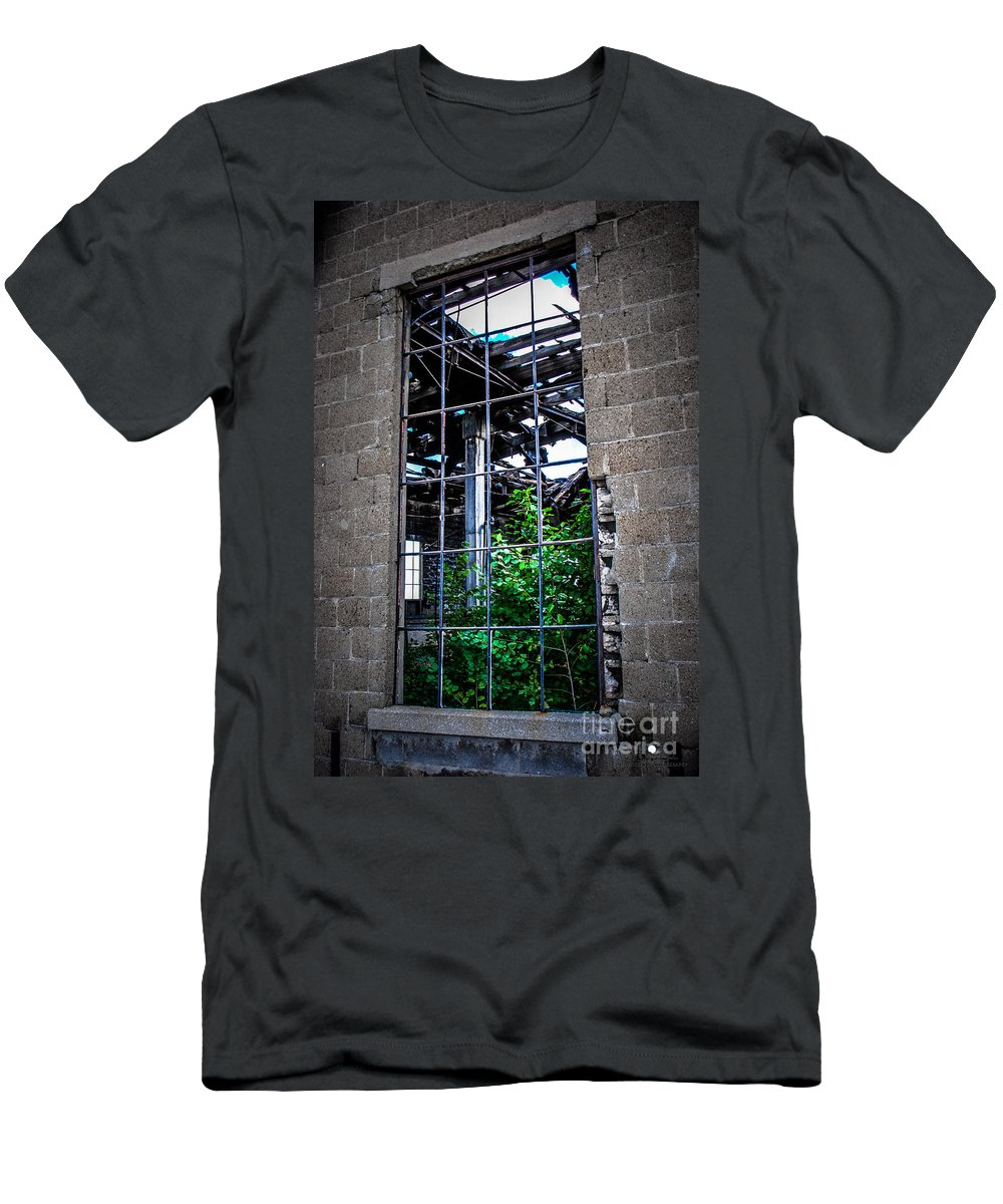 Window Men's T-Shirt (Athletic Fit) featuring the photograph From The Outside Looking In by Grace Grogan