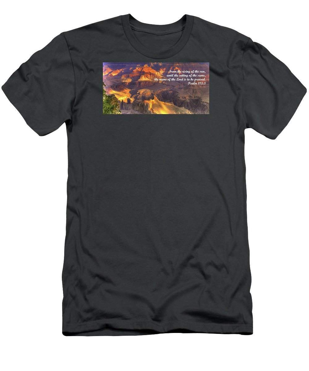 Bible Men's T-Shirt (Athletic Fit) featuring the photograph From The Rising Of The Sun...the Name Of The Lord Is To Be Praised - Psalm 113.3 - Grand Canyon by Michael Mazaika