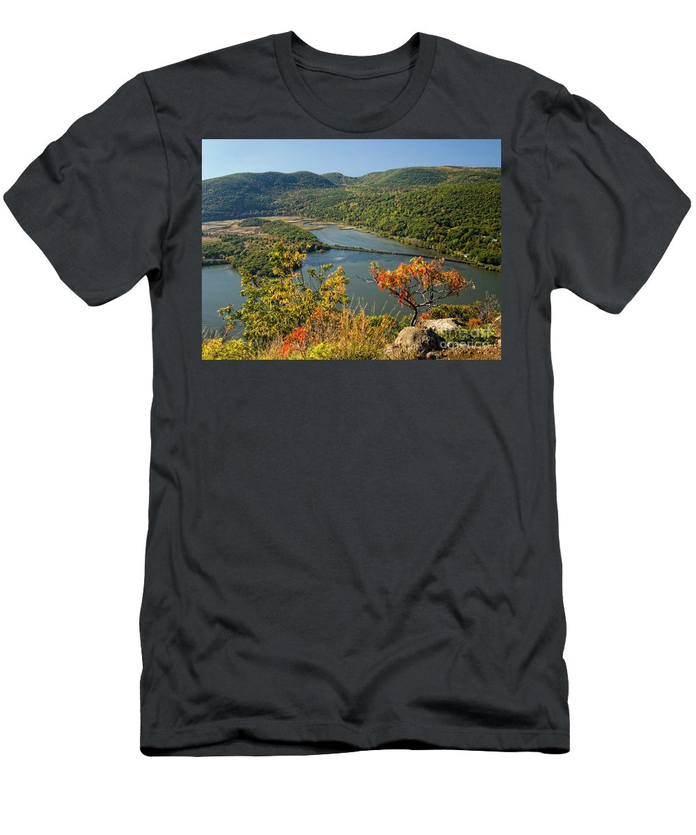 Hudson River Men's T-Shirt (Athletic Fit) featuring the photograph From The Top by Claudia Kuhn