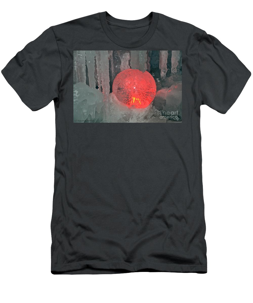 Ice Men's T-Shirt (Athletic Fit) featuring the photograph Frozen Marble by Susan Herber