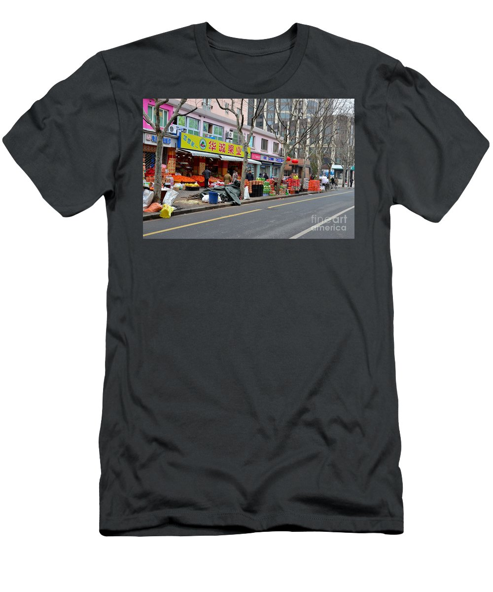Shanghai Men's T-Shirt (Athletic Fit) featuring the photograph Fruit Shop And Street Scene Shanghai China by Imran Ahmed