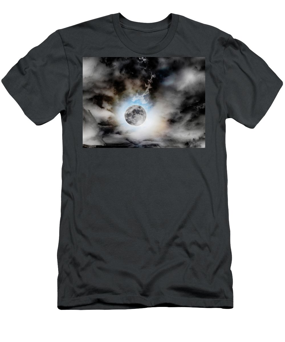 Full Men's T-Shirt (Athletic Fit) featuring the photograph Full Moon In Stormy Sky by Diana Haronis
