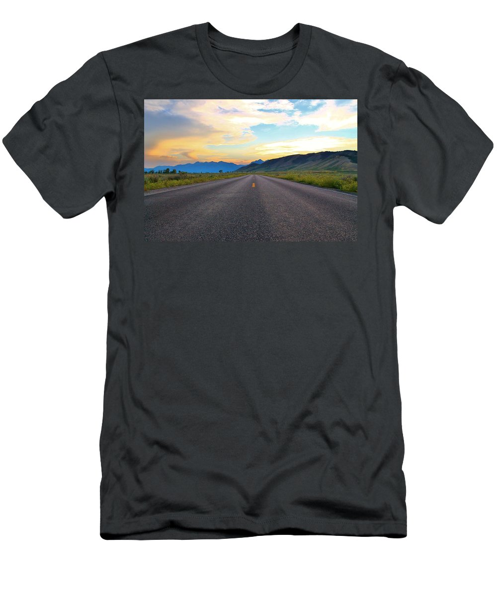 Open Road Men's T-Shirt (Athletic Fit) featuring the photograph Full Speed Ahead by Catie Canetti