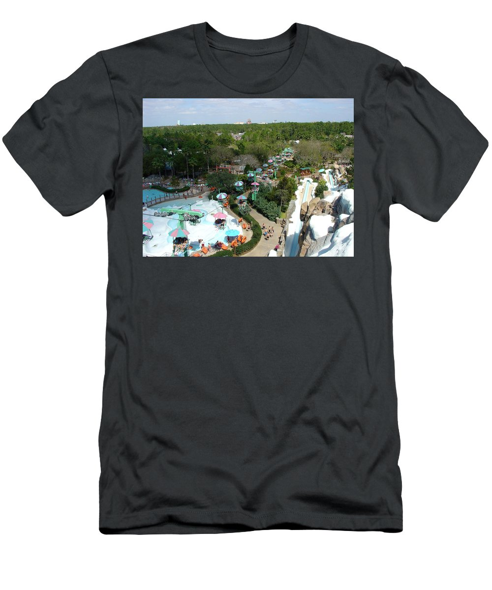 Disney World Men's T-Shirt (Athletic Fit) featuring the photograph Fun In The Snow by David Nicholls