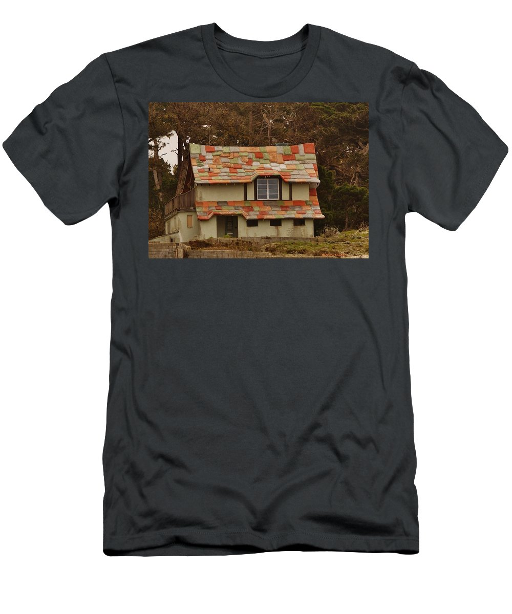 Funky House On 17 Mile Drive Men's T-Shirt (Athletic Fit) featuring the digital art Funky House On 17 Mile Drive by Barbara Snyder