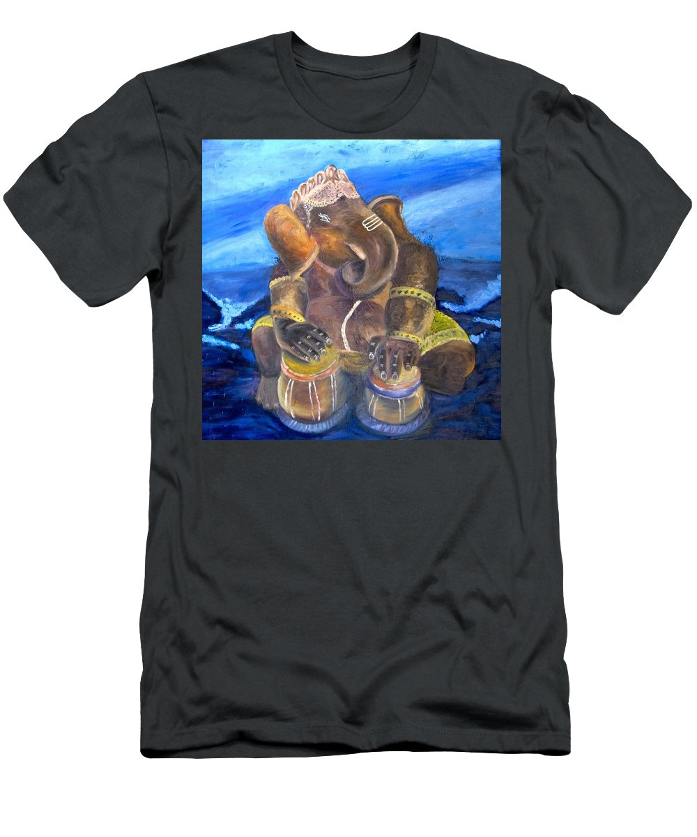 Ganesh Men's T-Shirt (Athletic Fit) featuring the painting Ganesh by Mila Kronik