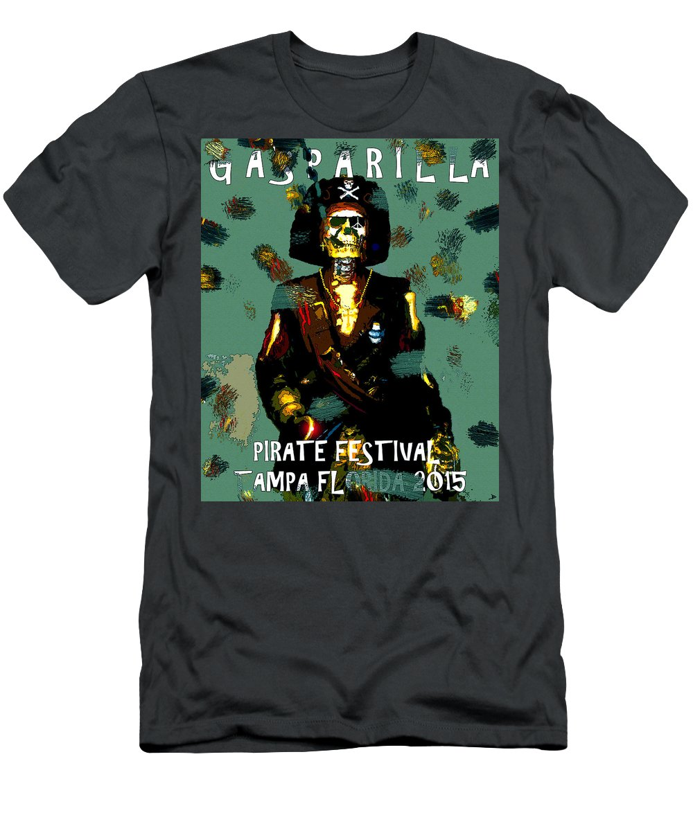 Gasparilla Men's T-Shirt (Athletic Fit) featuring the painting Gasparilla Pirate Fest 2015 Full Work by David Lee Thompson
