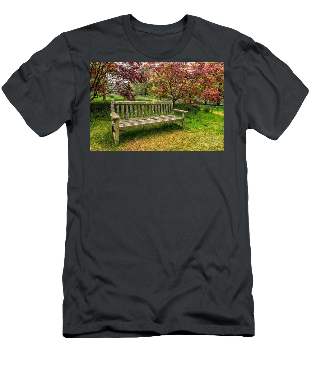 Bluebells Men's T-Shirt (Athletic Fit) featuring the photograph Garden Bench by Adrian Evans