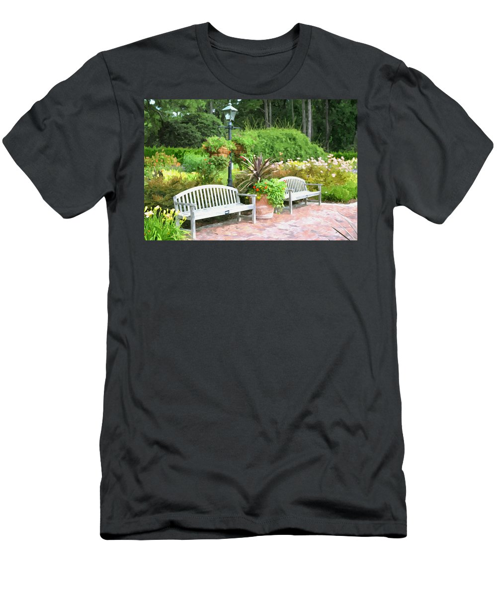 Bench And Containers Men's T-Shirt (Athletic Fit) featuring the painting Garden Benches 7 by Jeelan Clark