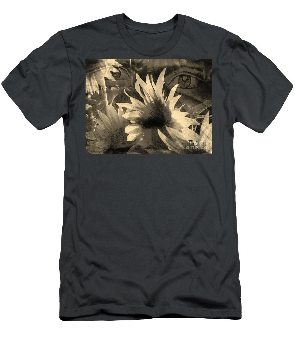 Sunflowers Men's T-Shirt (Athletic Fit) featuring the digital art Garden Guardian 1 by Elizabeth McTaggart