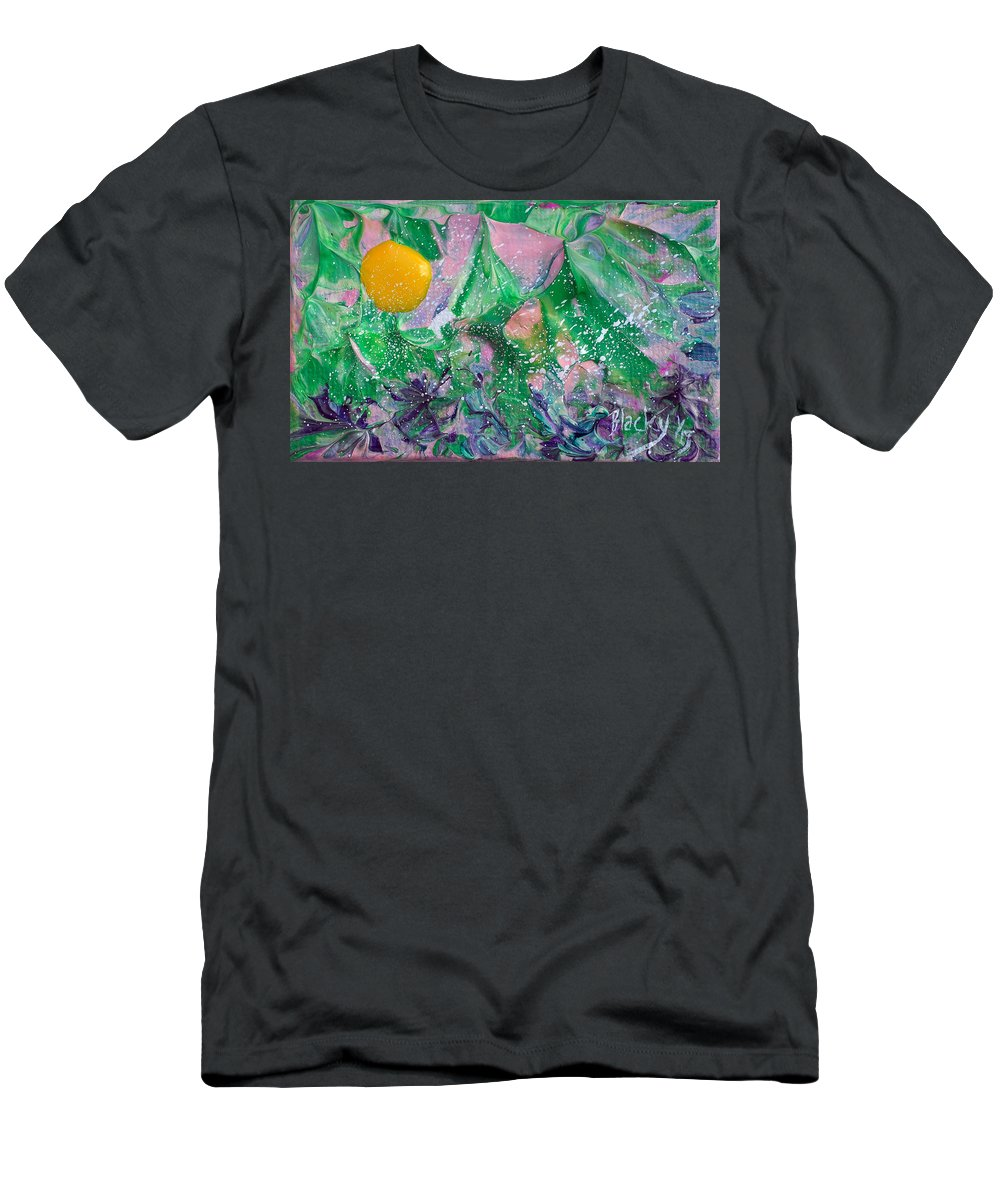 Bold Abstract Men's T-Shirt (Athletic Fit) featuring the painting Garden Sun by Donna Blackhall