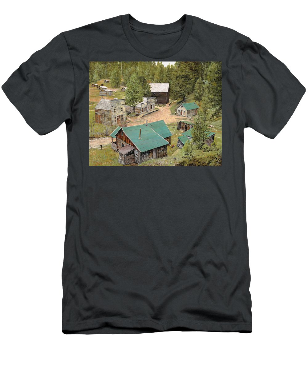Ghost Town Men's T-Shirt (Athletic Fit) featuring the painting Garnet In Montana by Guido Borelli