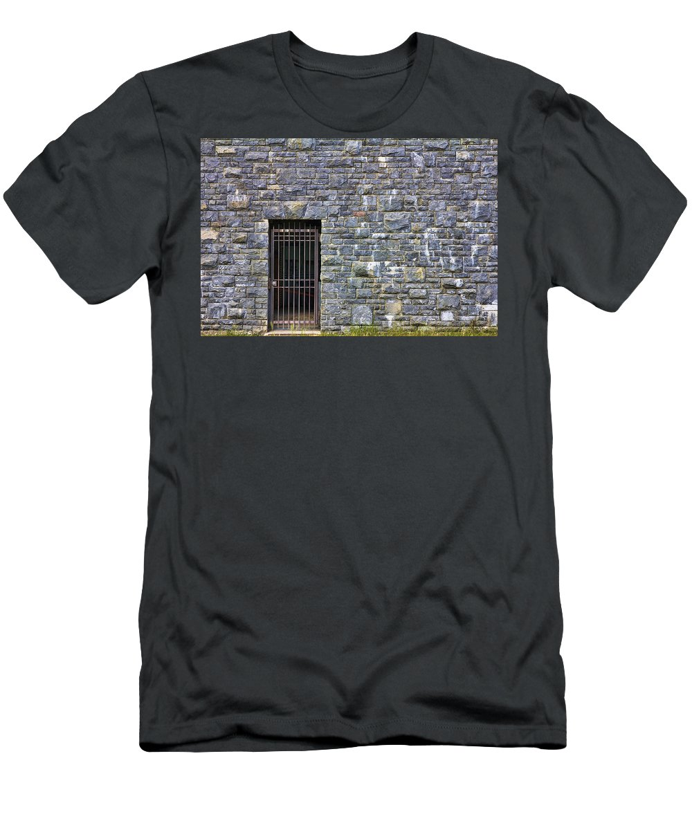 Gate Men's T-Shirt (Athletic Fit) featuring the photograph Gate Entrance On Stone Wall by Jit Lim