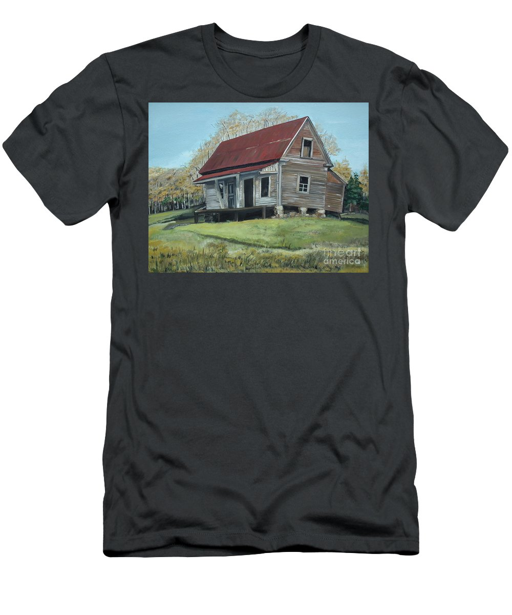 Gates Chapel Men's T-Shirt (Athletic Fit) featuring the painting Gates Chapel - Ellijay Ga - Old Homestead by Jan Dappen