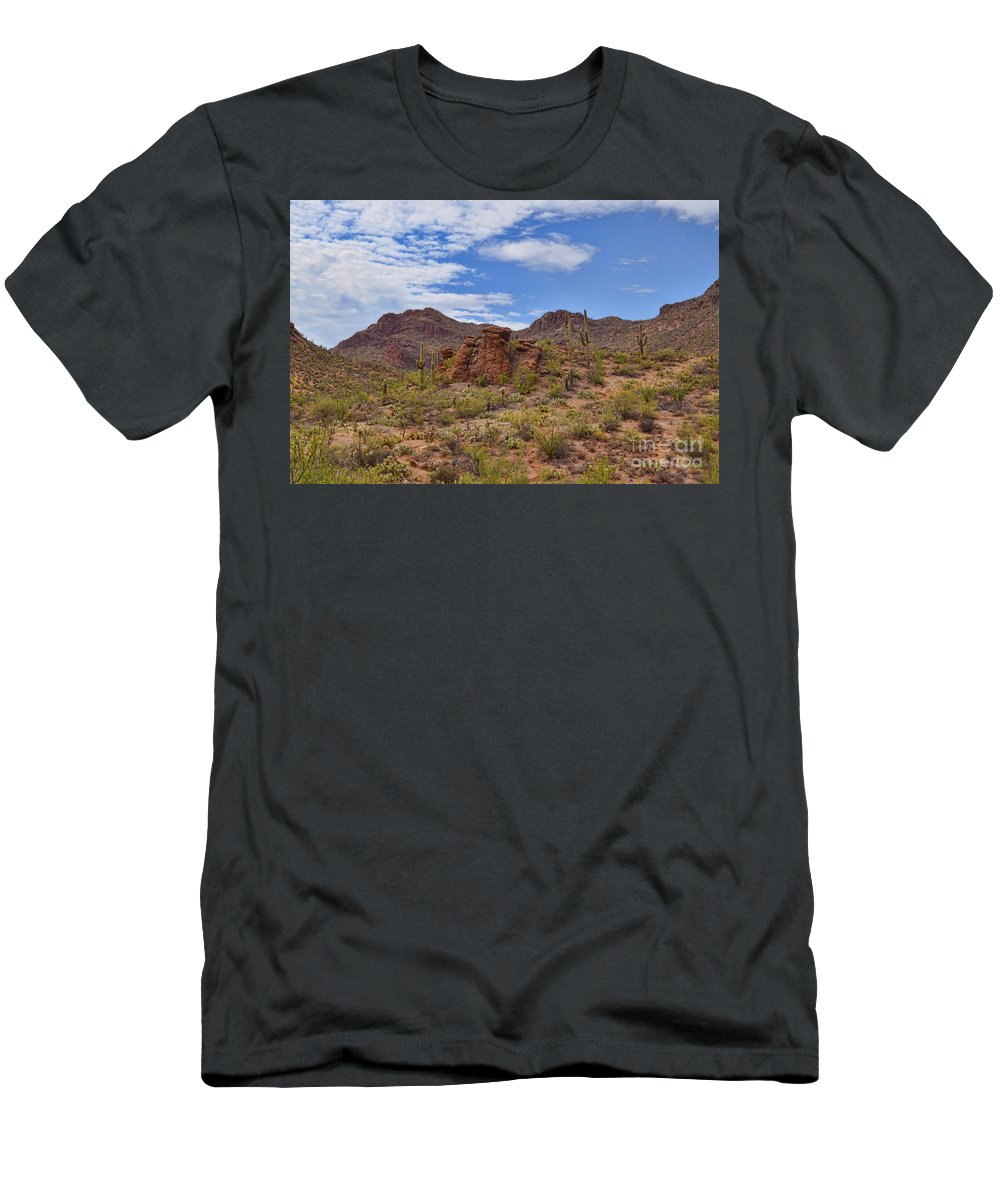 Gates Men's T-Shirt (Athletic Fit) featuring the photograph Gates Pass Scenic View by Donna Greene