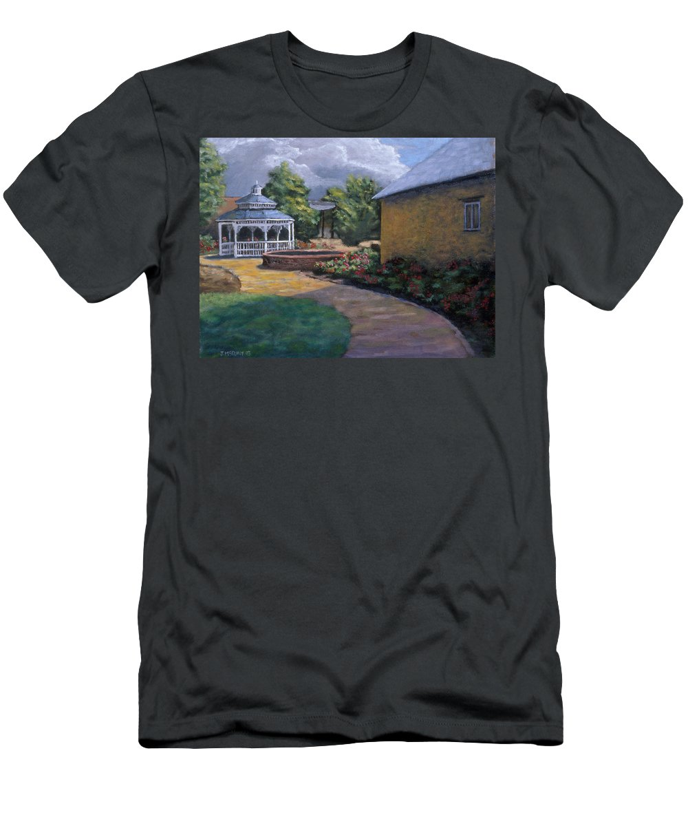 Potter Men's T-Shirt (Athletic Fit) featuring the painting Gazebo In Potter Nebraska by Jerry McElroy