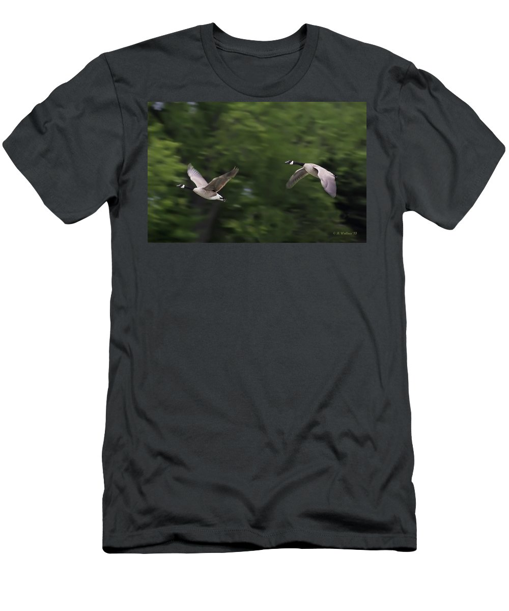 2d Men's T-Shirt (Athletic Fit) featuring the photograph Geese Pair In Flight by Brian Wallace