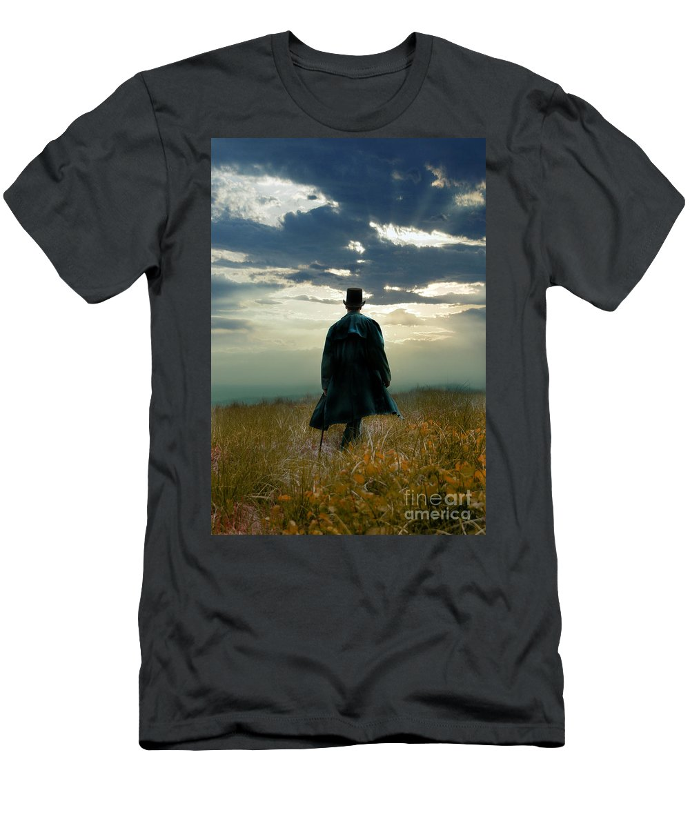 Man Men's T-Shirt (Athletic Fit) featuring the photograph Gentleman In Top Hat Walking In Field by Jill Battaglia