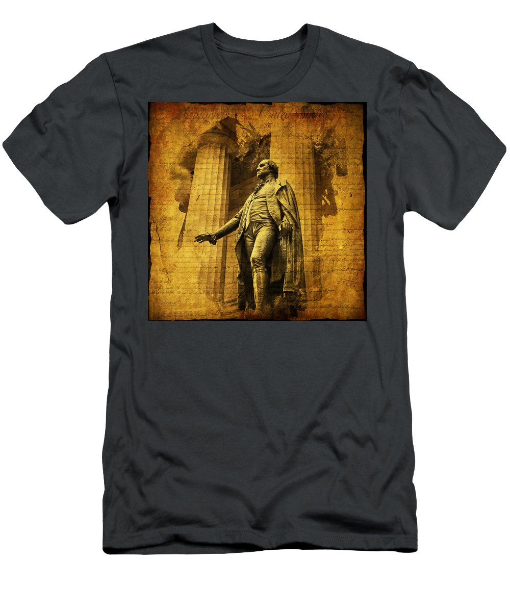 Evie Men's T-Shirt (Athletic Fit) featuring the photograph George Washington by Evie Carrier