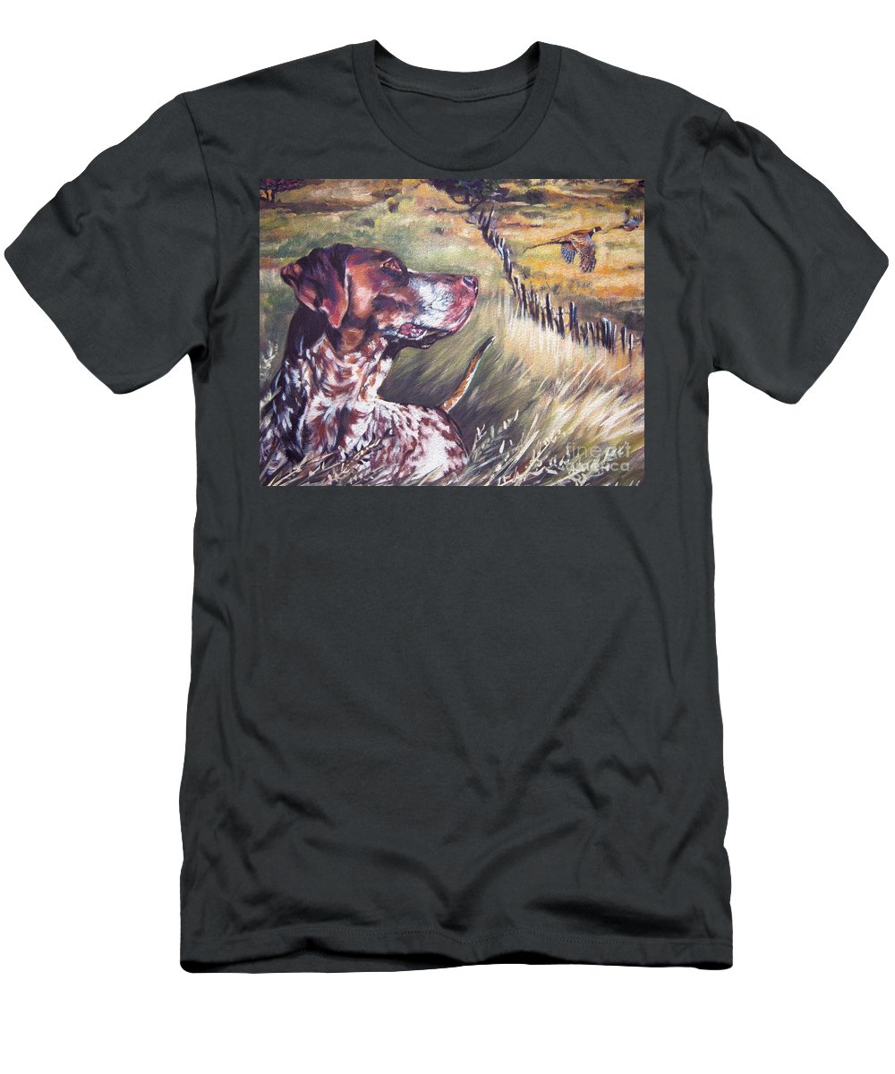 Dog Men's T-Shirt (Athletic Fit) featuring the painting German Shorthaired Pointer And Pheasants by Lee Ann Shepard