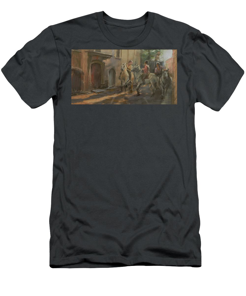 Horse Men's T-Shirt (Athletic Fit) featuring the photograph Getting Ready For The Bull Run, 2009 Pastel On Paper by Pat Maclaurin