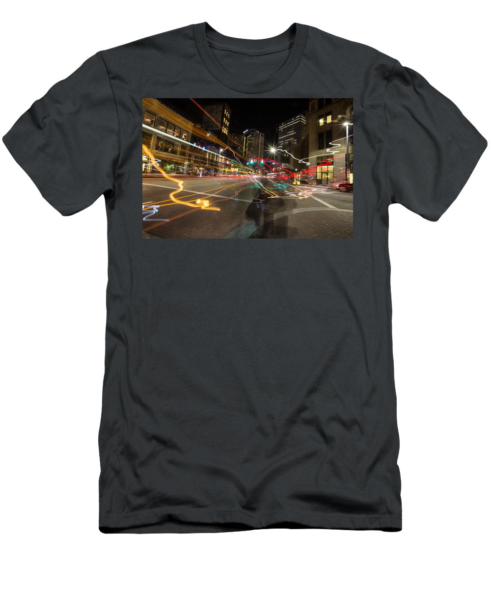 Pittsburgh Pa. Pennsylvania City Skyline Traffic Night View Taaffe Urban Urbanx Men's T-Shirt (Athletic Fit) featuring the photograph Ghost Of A Chance by Jimmy Taaffe