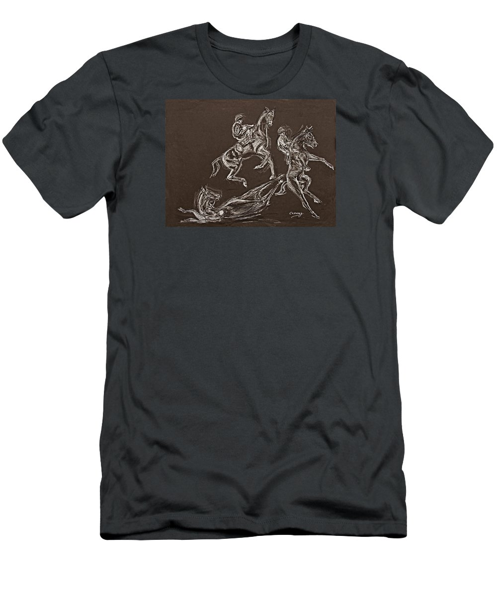 Rearing Horse Men's T-Shirt (Athletic Fit) featuring the drawing Ghost Riders In The Sky by Tom Conway