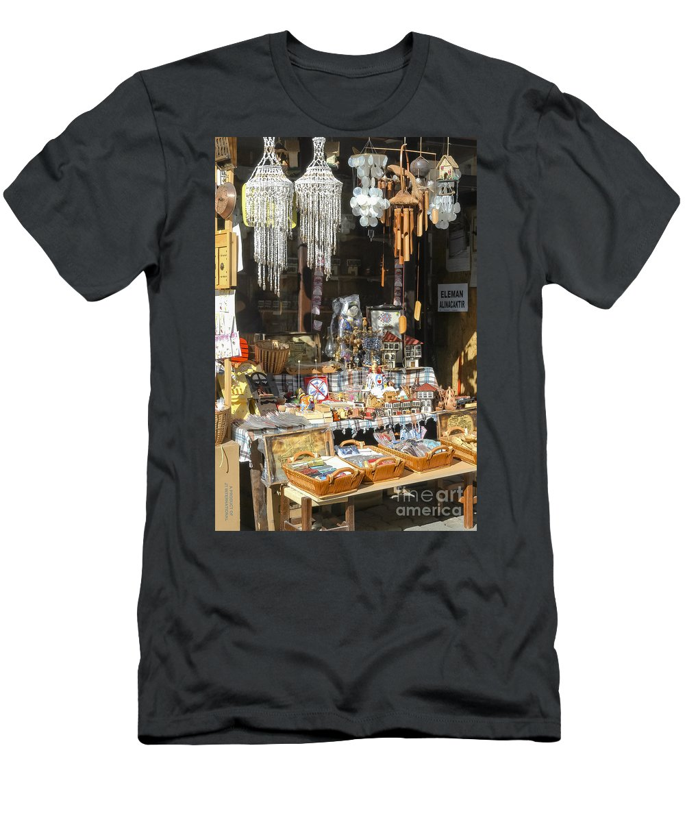 Safranbolu Turkey Street Market Markets Gifts Wind Chimes Chime Odds And Ends Souvenir Souvenirs Streets Cityscape Cityscapes City Cities Men's T-Shirt (Athletic Fit) featuring the photograph Gifts And Things by Bob Phillips