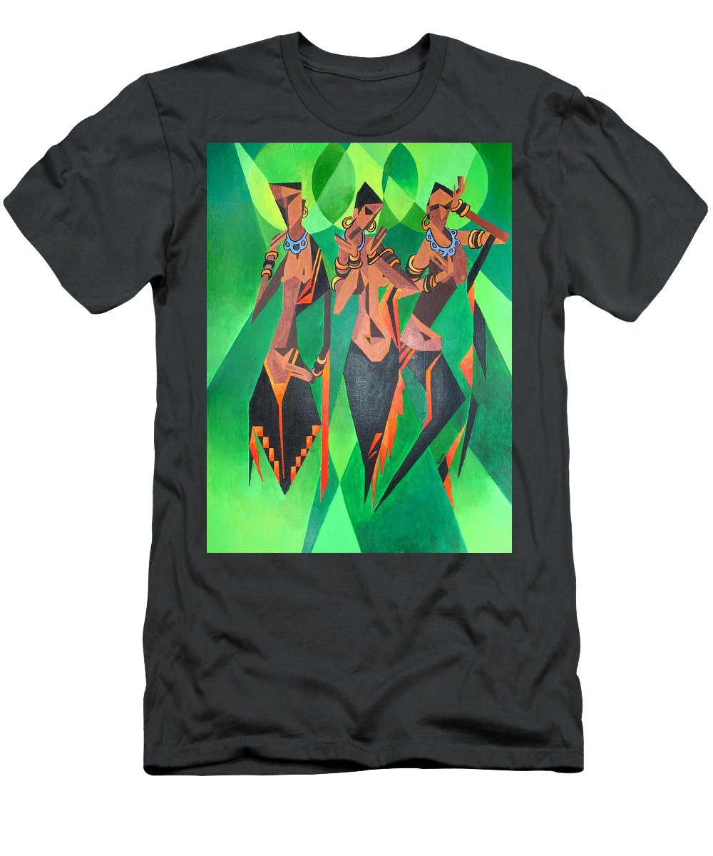 Men's T-Shirt (Athletic Fit) featuring the painting Girls Just Wanna Have Fun by Taiche Acrylic Art
