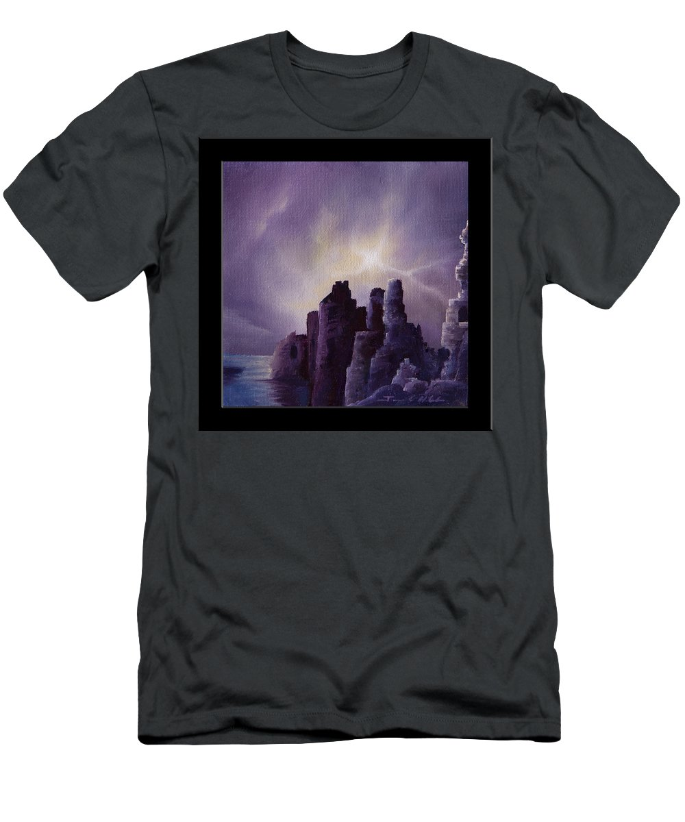 Sunrise T-Shirt featuring the painting Girnigoe Castle by James Christopher Hill