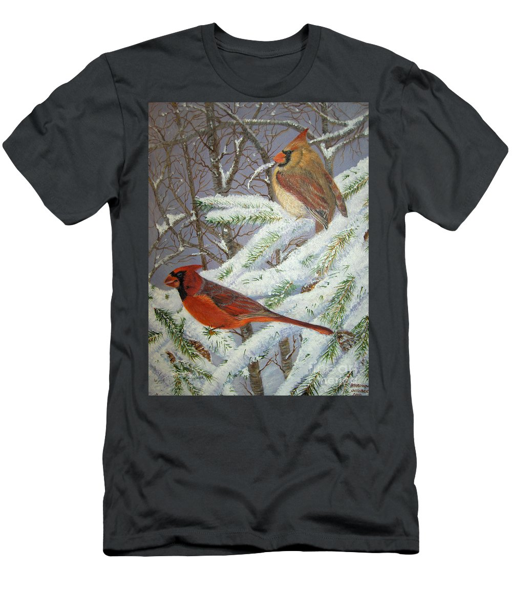 Birds Men's T-Shirt (Athletic Fit) featuring the painting Give Her Wings To Fly by Brenda Brown