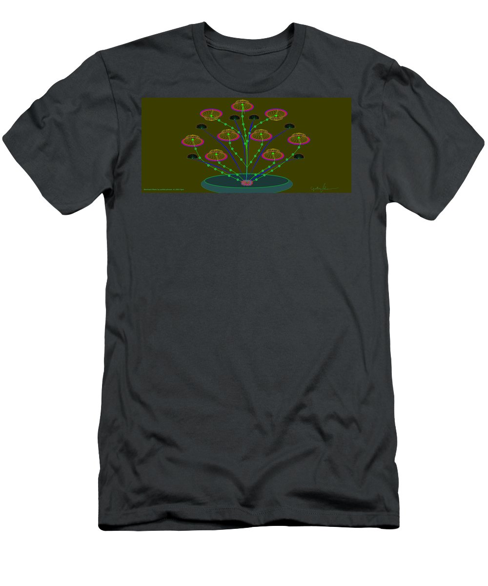 Landscape Men's T-Shirt (Athletic Fit) featuring the painting Gloriemae's Flower by Cynthia Johnson