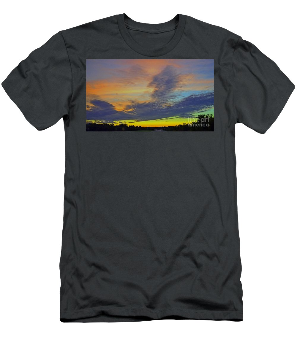 Glorious Sunset.sunset.sunsets.sunrises Men's T-Shirt (Athletic Fit) featuring the photograph Glorious Sunset by Luther Fine Art