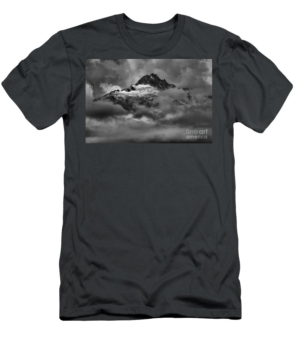 Tantalus Men's T-Shirt (Athletic Fit) featuring the photograph Glowing Glaciers In The Tantalus Range by Adam Jewell