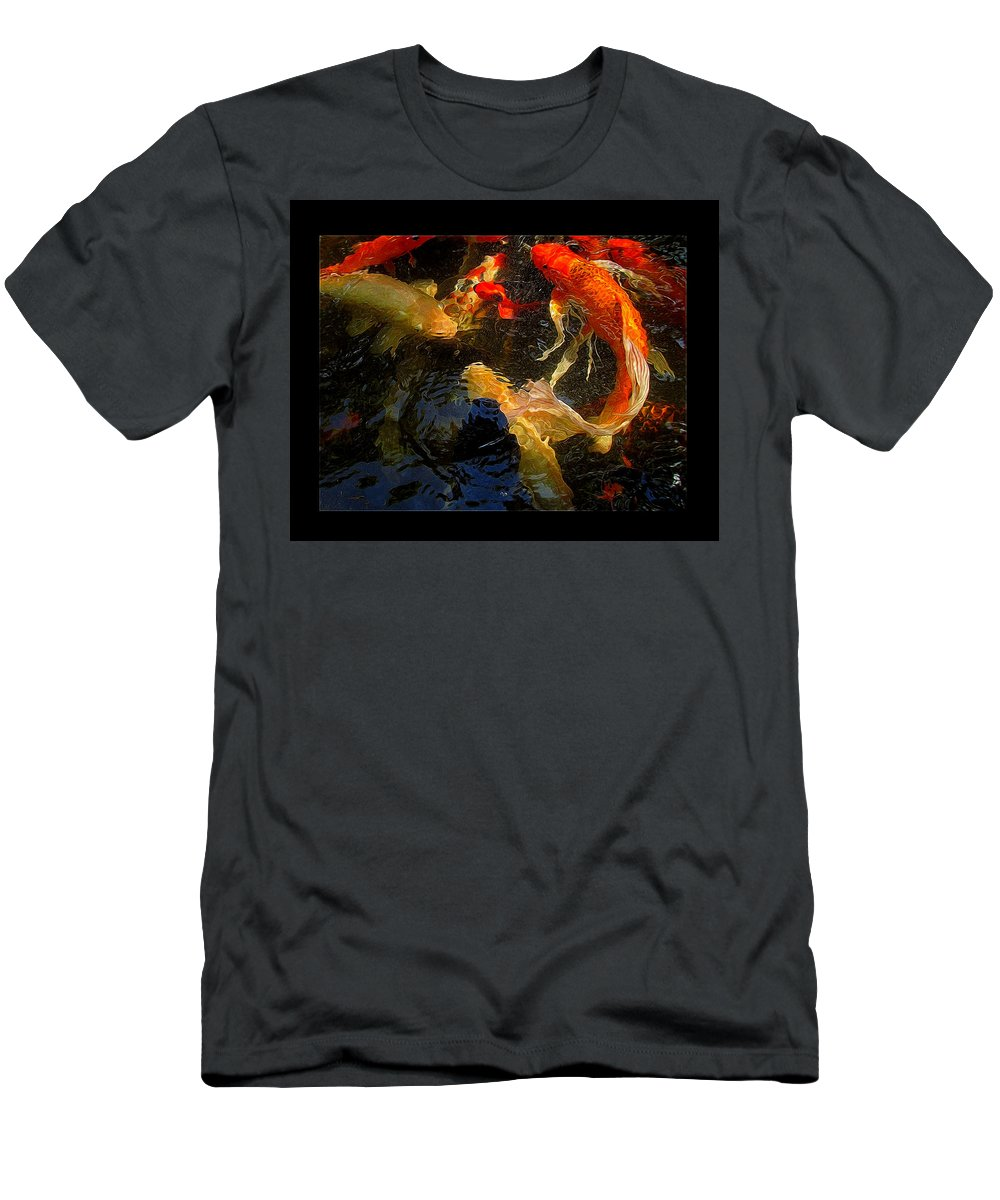 Fish Men's T-Shirt (Athletic Fit) featuring the photograph Glowing Koi by Shannon Story