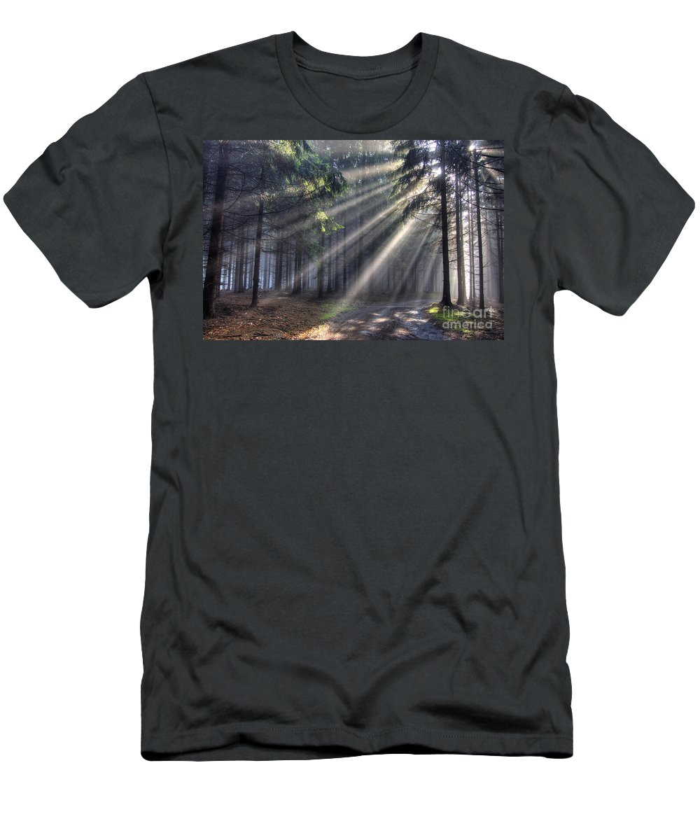 Forest Men's T-Shirt (Athletic Fit) featuring the photograph God Beams - Coniferous Forest In Fog by Michal Boubin