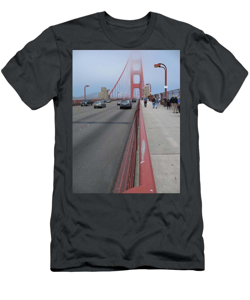 Bridge Men's T-Shirt (Athletic Fit) featuring the photograph Going North On Golden Gate Bridge by Christiane Schulze Art And Photography