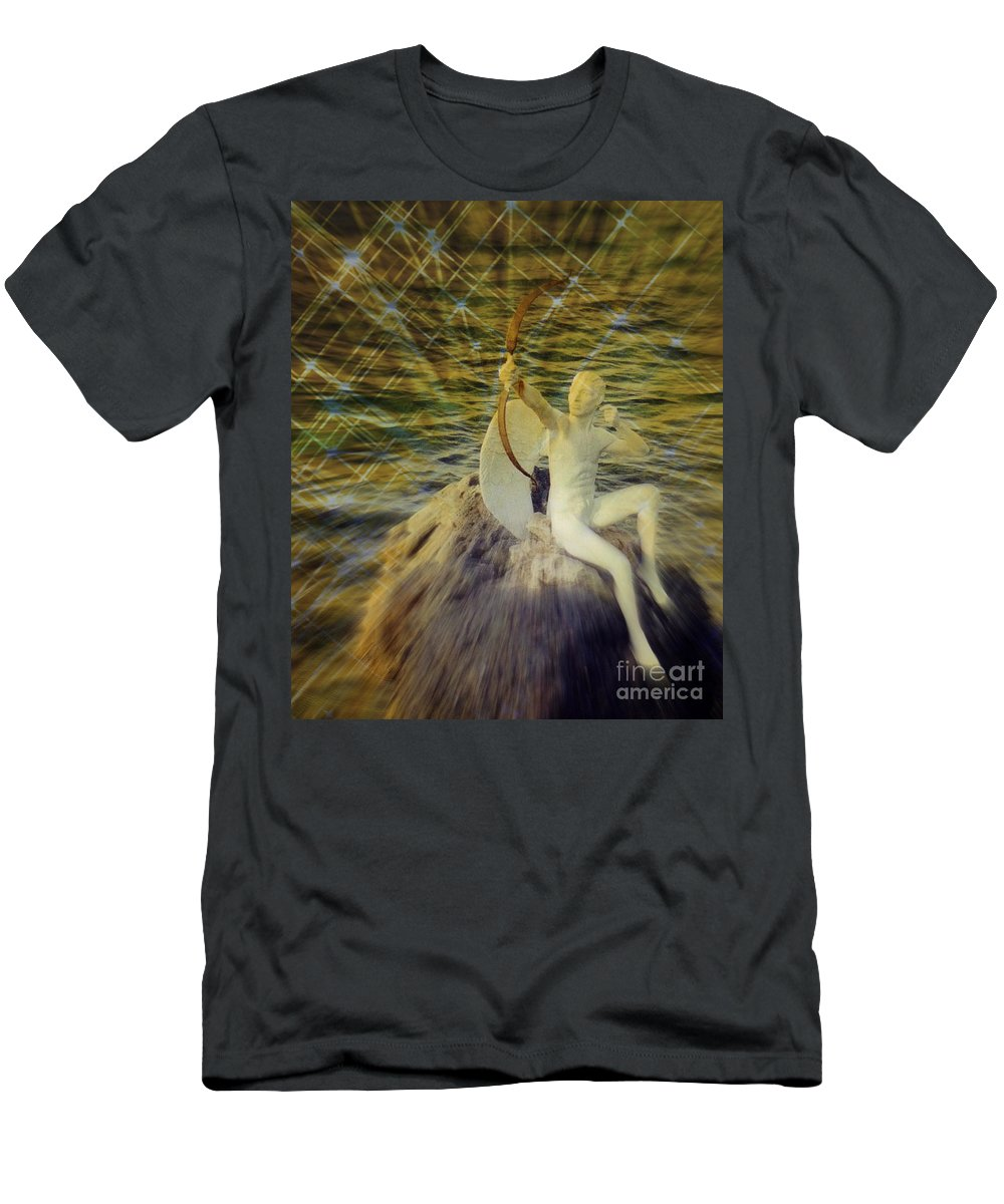 Valentine Card Men's T-Shirt (Athletic Fit) featuring the photograph Golden Cupid Valentine Card by John Malone