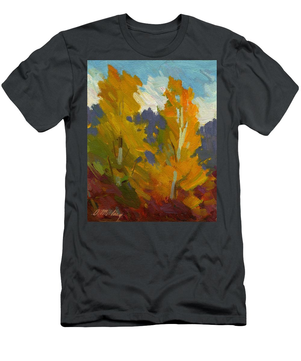 Golden Men's T-Shirt (Athletic Fit) featuring the painting Golden Fall by Diane McClary