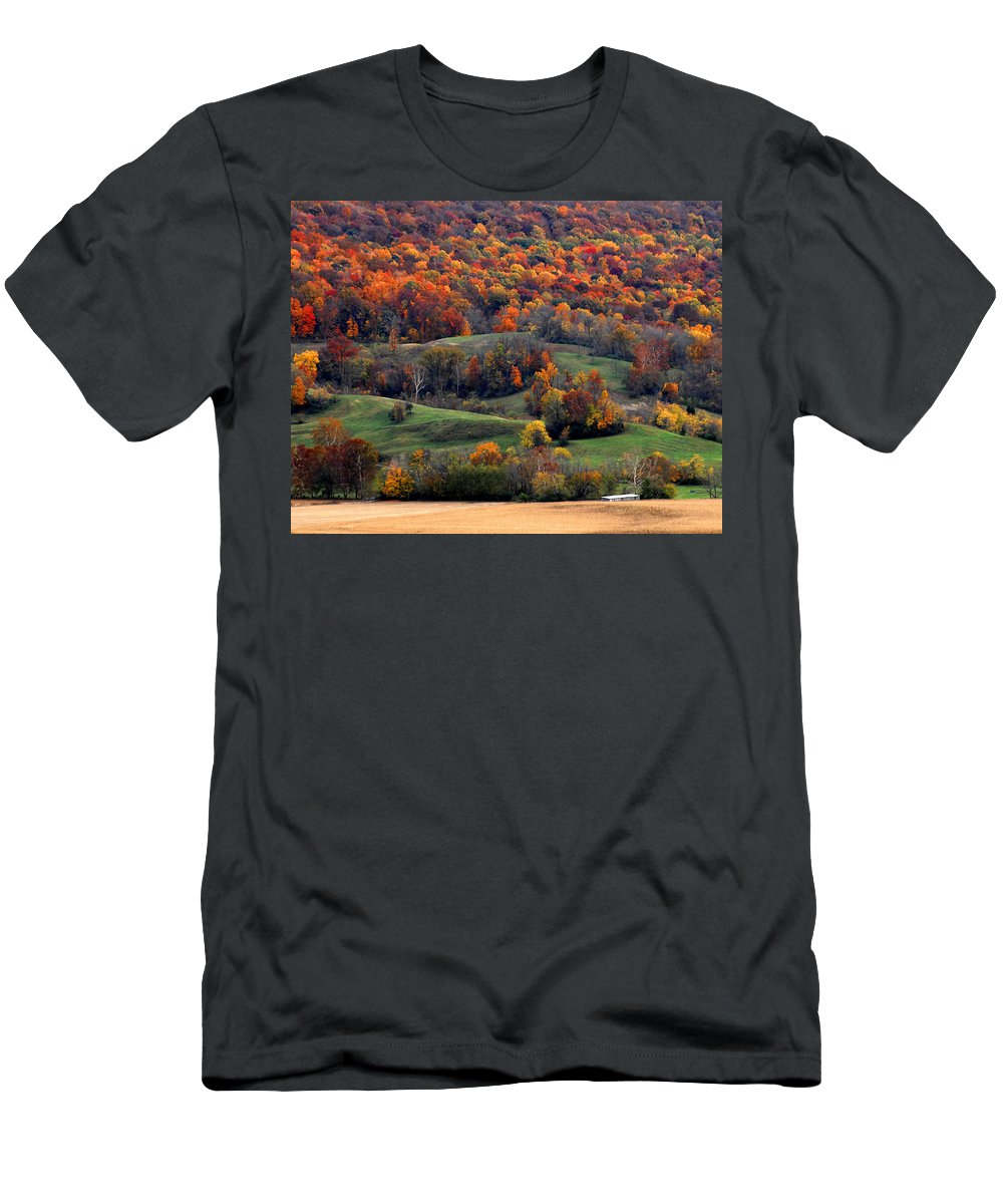 Golden Hills Men's T-Shirt (Athletic Fit) featuring the photograph Golden Fields Golden Trees Green Pastures by Randall Branham