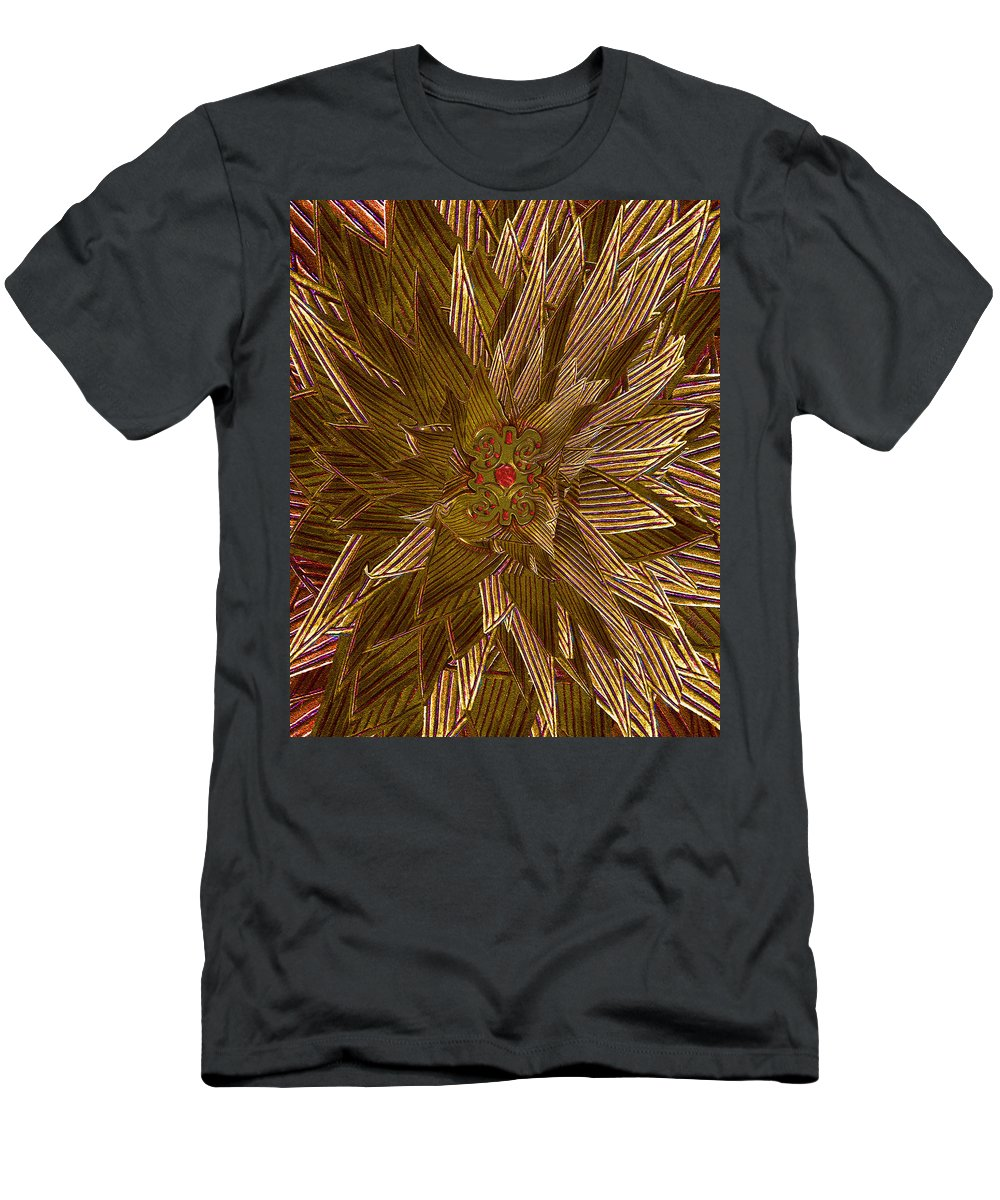 Gold Men's T-Shirt (Athletic Fit) featuring the photograph Golden Flower - Ruby Heart by Michele Avanti