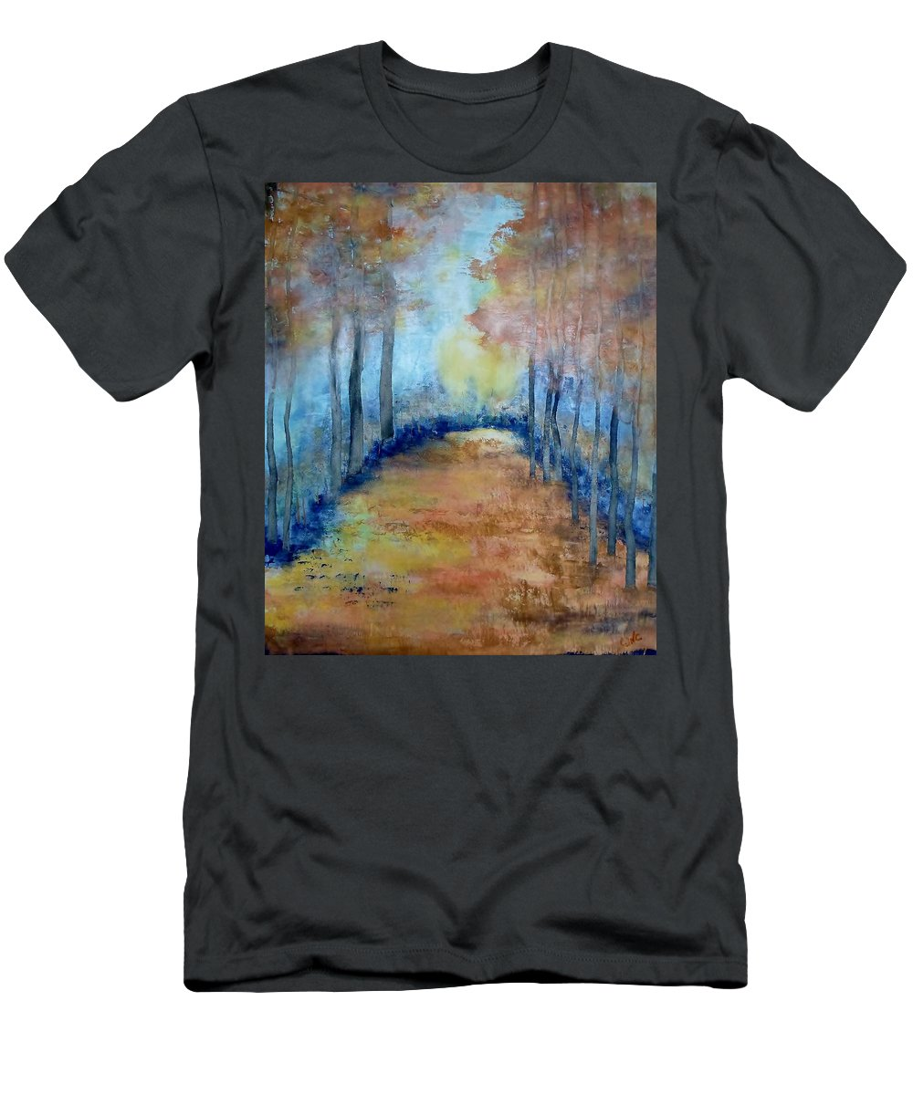 Trees Men's T-Shirt (Athletic Fit) featuring the painting Golden Glow by Catherine JN Christopher