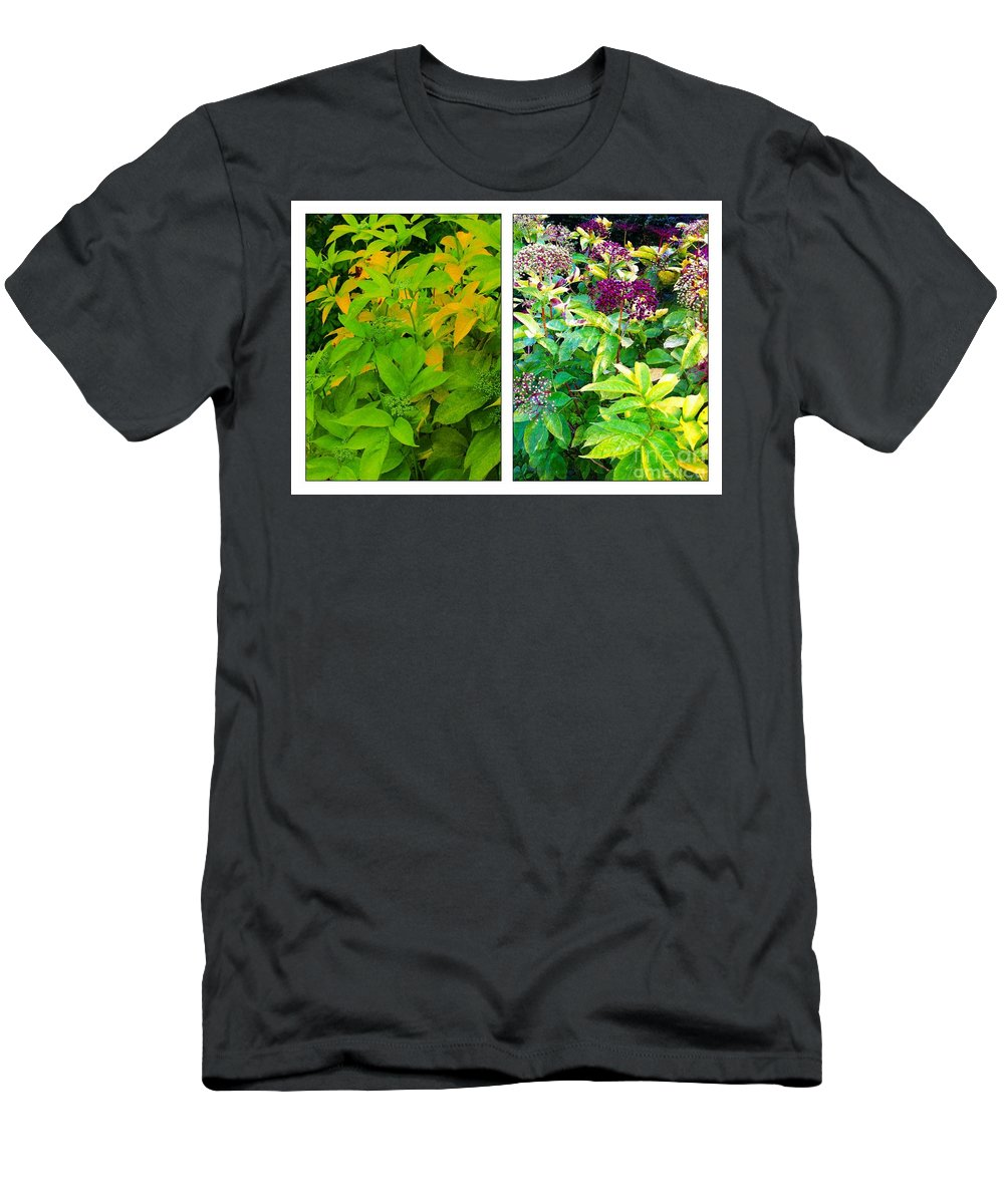 Golden Leaves To Purple Seeds Men's T-Shirt (Athletic Fit) featuring the photograph Golden Leaves To Purple Seeds by Barbara Griffin