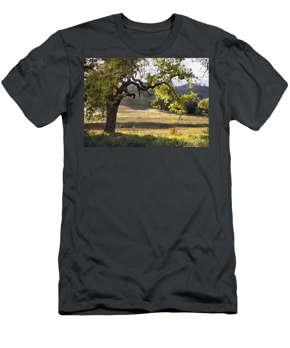 Oak Men's T-Shirt (Athletic Fit) featuring the digital art Golden Oaks by Sharon Foster