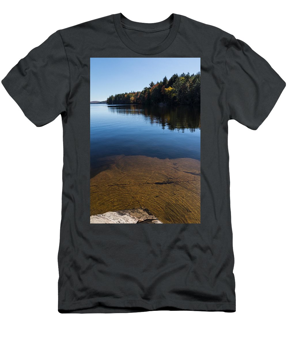 Golden Ripples Men's T-Shirt (Athletic Fit) featuring the photograph Golden Ripples Bedrock - Fall Reflection Tranquility by Georgia Mizuleva