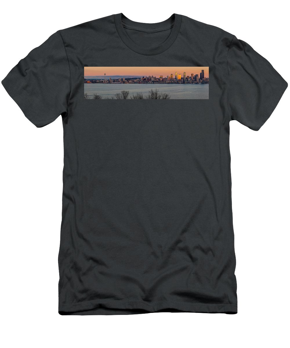 Seattle Men's T-Shirt (Athletic Fit) featuring the photograph Golden Seattle Skyline Sunset by Mike Reid