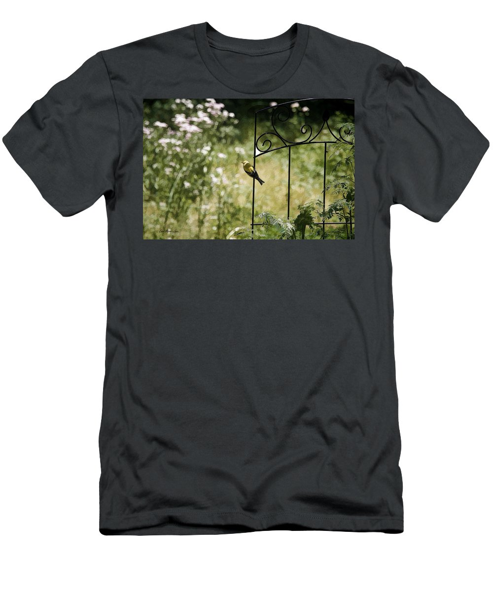Bird Men's T-Shirt (Athletic Fit) featuring the photograph Goldfinch On The Lookout -19 by Ericamaxine Price