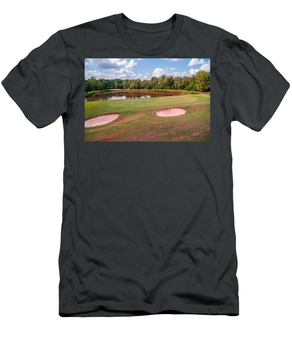 Activity Men's T-Shirt (Athletic Fit) featuring the photograph Golf Course Beautiful Landscape On Sunny Day by Alex Grichenko