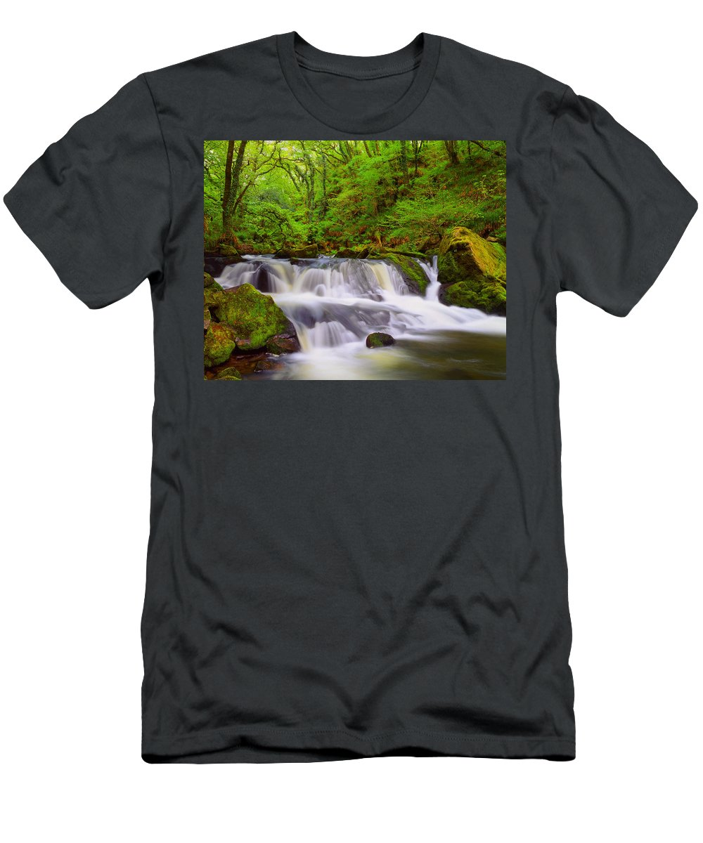 Waterfalls Men's T-Shirt (Athletic Fit) featuring the photograph Golitha Falls And River Fowey by Darren Galpin