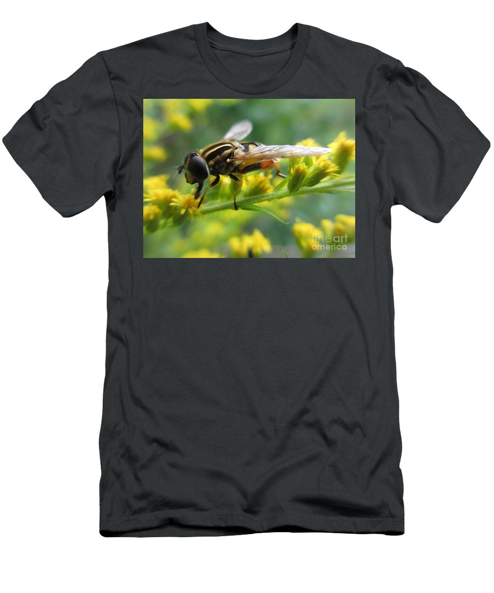 Hoverfly Men's T-Shirt (Athletic Fit) featuring the photograph Good Guy Hoverfly by Martin Howard